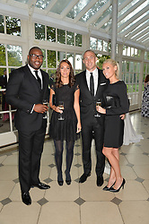 Left to right, England rugby player UGO MONYE, RICCI WARRINGTON, ELIZA WOODCOCK and England rugby player MIKE BROWN at 'A Night of Champions' an evening to raise funds for the Mo Farah Foundation held at The Hurlingham Club, London on 28th August 2014.