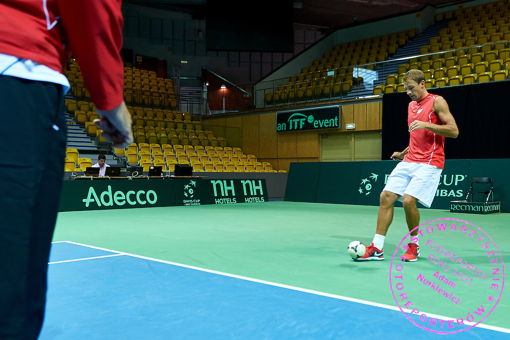 Lukasz Kubot of Poland while his warm up during Davis Cup Tie World Group Play-off Poland v Slovakia at Gdynia Arena Hall in Gdynia, Poland.<br /> <br /> Poland, Gdynia, September 18, 2015<br /> <br /> Picture also available in RAW (NEF) or TIFF format on special request.<br /> <br /> For editorial use only. Any commercial or promotional use requires permission.<br /> <br /> Adam Nurkiewicz declares that he has no rights to the image of people at the photographs of his authorship.<br /> <br /> Mandatory credit:<br /> Photo by &copy; Adam Nurkiewicz / Mediasport