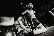 A wrestler enters the ring during Doglegs, an event for wrestlers with physical and mental handicaps in Tokyo, Japan.
