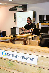 Pictured: Computer Repair team leader Sotiris Katsimbas repairs a laptop. <br /> <br /> The Remakery - which is part of a Zero Waste Scotland project - aims to transform the scale of re-use shopping experiences and teach people key repair skills.<br /> <br /> Ger Harley | EEm 19 May  2016