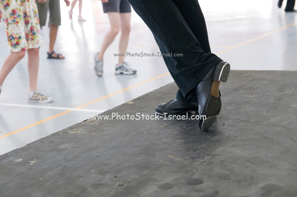 Tap dancer instructor Close up of the feet and shoes
