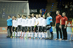BERLIN - Indoor Hockey World Cup<br /> Men: Russia - South Africa<br /> foto: line up Russia.<br /> COPYRIGHT WILLEM VERNES