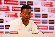 Daniel Sturridge of England during the England press conference at Estádio Claudio Coutinho, Rio de Janeiro<br /> Picture by Andrew Tobin/Focus Images Ltd +44 7710 761829<br /> 16/06/2014