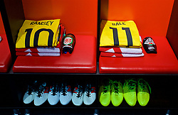 CHIȘINĂU, MOLDOVA - Tuesday, September 5, 2017: The shirt of Wales' Aaron Ramsey and Gareth Bale in the dressing room ahead of the 2018 FIFA World Cup Qualifying Group D match between Moldova and Wales at the Zimbru Stadium. (Pic by David Rawcliffe/Propaganda)