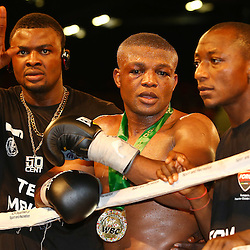 "DURBAN, SOUTH AFRICA - MAY 16: Ilunga ""JUNIOR"" Makabu during the WBC Eliminator bout bout between Thabiso ""THE ROCK"" Mchunu and Ilunga ""JUNIOR"" Makabu at Inkosi Albert Luthuli ICC on May 16, 2015 in Durban, South Africa. (Photo by Steve Haag)"