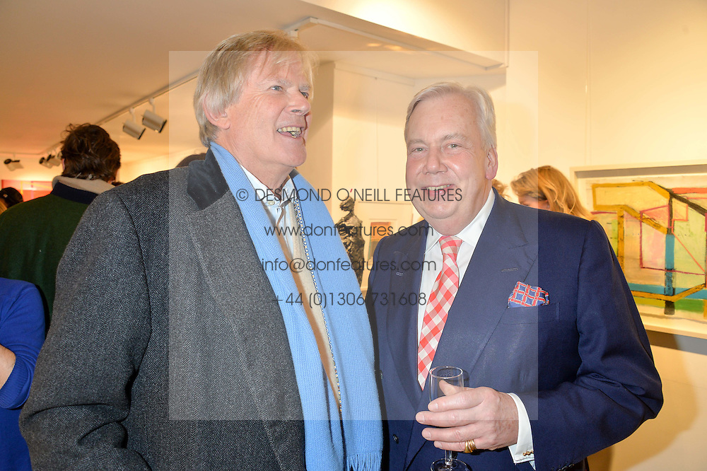 Left to right, JOHN ANSTRUTHER-GOUGH-CALTHORPE and DAVID McDONOUGH at a private view entitled Stop Making Sense featuring work by Georgiana Anstruther and Carol Corell held at Lacey Contemporary, 8 Clarendon Cross, London on 9th March 2016.