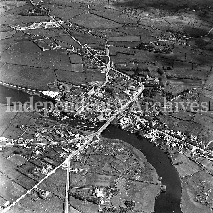 A203 Foxford College.   03/10/52. (Part of the Independent Newspapers Ireland/NLI collection.)<br /> <br /> <br /> These aerial views of Ireland from the Morgan Collection were taken during the mid-1950's, comprising medium and low altitude black-and-white birds-eye views of places and events, many of which were commissioned by clients. From 1951 to 1958 a different aerial picture was published each Friday in the Irish Independent in a series called, 'Views from the Air'.The photographer was Alexander 'Monkey' Campbell Morgan (1919-1958). Born in London and part of the Royal Artillery Air Corps, on leaving the army he started Aerophotos in Ireland. He was killed when, on business, his plane crashed flying from Shannon.