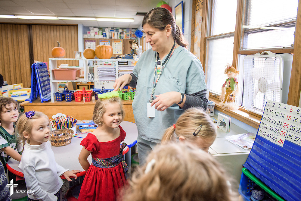 Linda Pfeiffer corrals her kindergarten students during class qon Friday, Oct. 28, 2016, at First Immanuel Lutheran School in Cedarburg, Wis. LCMS Communications/Erik M. Lunsford