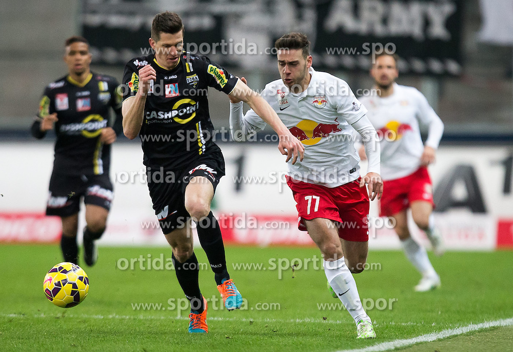 07.03.2015, Red Bull Arena, Salzburg, AUT, 1. FBL, FC Red Bull Salzburg vs SCR Cashpoint Altach, 24. Runde, im Bild v.l.: Andreas Lienhard, (SCR Altach, #07), Massimo Bruno (FC Red Bull Salzburg, #77) // during Austrian Football Bundesliga 24th round Match between FC Red Bull Salzburg and SCR Cashpoint Altach at the Red Bull Arena, Salzburg, Austria on 2015/03/07. EXPA Pictures © 2015, PhotoCredit: EXPA/ JFK