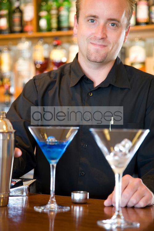 Close up of a barman