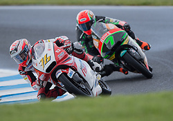 October 22, 2016 - Melbourne, Victoria, Australia - Japanese rider Hiroki Ono (#76) of Honda Team Asia and Malaysian rider Adam Norrodin (#7) of Drive M7 Sic Racing Team in action during the 3rd Moto3 Free Practice session at the 2016 Australian MotoGP held at Phillip Island, Australia. (Credit Image: © Theo Karanikos via ZUMA Wire)