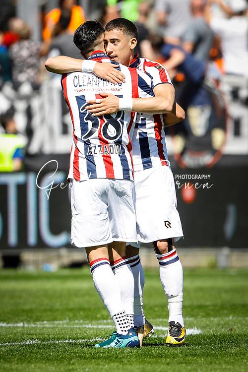 *Kostas Tsimikas* of Willem II celebrates 1-0 with *Ismail Azzaoui* of Willem II