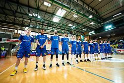 Team Hopsi Polzela listening to the National anthem during basketball match between KK Sixt Primorska and KK Hopsi Polzela in final of Spar Cup 2018/19, on February 17, 2019 in Arena Bonifika, Koper / Capodistria, Slovenia. Photo by Vid Ponikvar / Sportida
