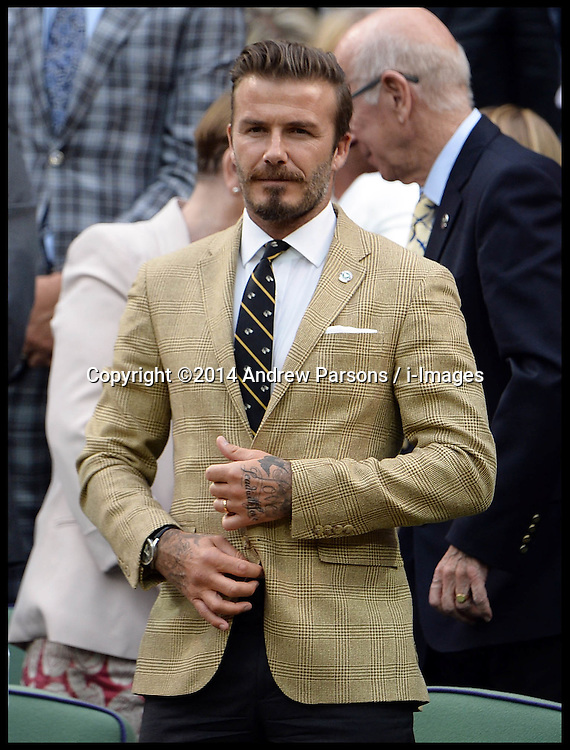 Image ©Licensed to i-Images Picture Agency. 28/06/2014, Wimbledon, London, United Kingdom. David Beckham in the Royal box on Day 6 of the Wimbledon Tennis Championship. Picture by Andrew Parsons / i-Images