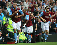 Photo: Rich Eaton.<br /> <br /> Aston Villa v Chelsea. The FA Barclays Premiership. 02/09/2007. Aston Villa's Zak Knight scores on his Villa Park debut to give Villa a 1-0 lead.