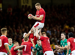 Bradley Davies of Wales claims the lineout<br /> <br /> Photographer Simon King/Replay Images<br /> <br /> Friendly - Wales v Ireland - Saturday 31st August 2019 - Principality Stadium - Cardiff<br /> <br /> World Copyright © Replay Images . All rights reserved. info@replayimages.co.uk - http://replayimages.co.uk