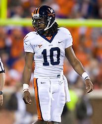 November 21, 2009; Clemson, SC, USA; Virginia Cavaliers quarterback Jameel Sewell (10) during the fourth quarter against the Clemson Tigers at Memorial Stadium.  Clemson defeated Virginia 34-21.
