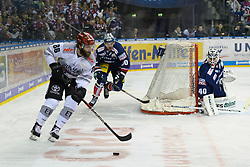 01.03.2019, O2 World, Berlin, GER, DEL, Eisbaeren Berlin vs Koelner Haie, 52. Runde, im Bild v.l. Ben Hanowski #86 - Haie, Constantin Braun - Eisbaeren, Kevin Poulin - Eisbaeren // during the DEL 52th round match between Eisbaeren Berlin and Koelner Haie at the O2 World in Berlin, Germany on 2019/03/01. EXPA Pictures © 2019, PhotoCredit: EXPA/ Eibner-Pressefoto/ Uwe Koch<br /> <br /> *****ATTENTION - OUT of GER*****