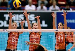 08-08-2014 NED: FIVB Grand Prix Nederland - Puerto Rico, Doetinchem<br /> (L-R) Judith Pietersen, Yvon Beliën, Anne Buijs