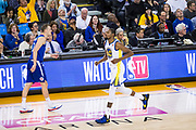 Golden State Warriors forward Kevin Durant (35) hustles off the court during a time out against the LA Clippers at Oracle Arena in Oakland, Calif., on January 10, 2018. (Stan Olszewski/Special to S.F. Examiner)