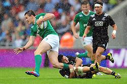 Jacob Stockdale of Ireland U20 is tackled - Mandatory byline: Patrick Khachfe/JMP - 07966 386802 - 11/06/2016 - RUGBY UNION - Manchester City Academy Stadium - Manchester, England - New Zealand U20 v Ireland U20 - World Rugby U20 Championship 2016.