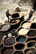 Morocco, Fez. Man working in a tannery.