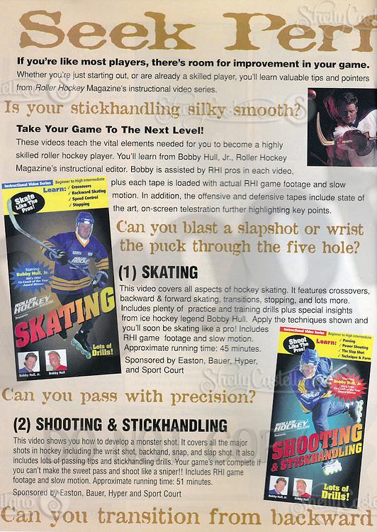 1998: Brett Hull Roller Hockey Instructional Video packaging tearsheet and AD in Roller Hockey Magazine.