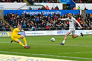 Goal -  Oli McBurnie (9) of Swansea City scores a goal to give a 2-0 lead to the home team during the EFL Sky Bet Championship match between Swansea City and Reading at the Liberty Stadium, Swansea, Wales on 27 October 2018.
