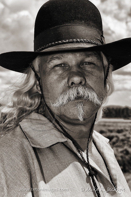 Cowboy portrait of a participant at the West Yellowstone Rendezvous.