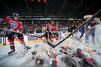 KELOWNA, CANADA - DECEMBER 6: Teddy Bears are gathered after being thrown on the ice after the first goal of the Kelowna Rockets against the Prince Albert Raiders on December 6, 2014 at Prospera Place in Kelowna, British Columbia, Canada.  (Photo by Marissa Baecker/Shoot the Breeze)  *** Local Caption *** Teddy Bears;