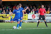 AFC Wimbledon attacker Marcus Forss (15) taking free kick from outside of box during the EFL Sky Bet League 1 match between AFC Wimbledon and Portsmouth at the Cherry Red Records Stadium, Kingston, England on 19 October 2019.