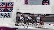 ENGLAND, Weymouth. 30th July 2012. Olympic Games. Elliott 6m. Womens Match Racing. Team GBR. Lucy Macgregor (GBR) Skipper, Annie Lush (GBR) Crew, Kate Macgregor (GBR) Crew.