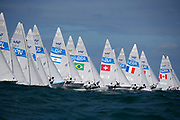 The fleet sail at the start of a 470 Mens class race in the Rio 2016 Olympic Games Sailing events in Rio de Janeiro, Brazil, 11 August 2016.