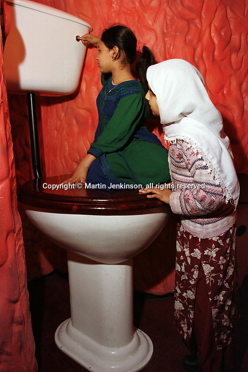 Health education for Year 6 pupils with giant toilet at the Thackray Medical Museum in Leeds....