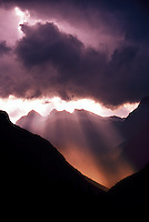 Passing storm over the Alps, looking south from Maloja Pass, Switzerland