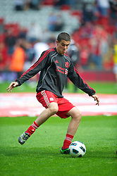 LIVERPOOL, ENGLAND - Saturday, April 23, 2011: Liverpool's Conor Coady is named as a first-team subsititute fot the first time for the Premiership match against Birmingham City at Anfield. (Photo by David Rawcliffe/Propaganda)