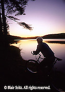 PA landscapes Bicycling, Young Male, PA Lake Sunset