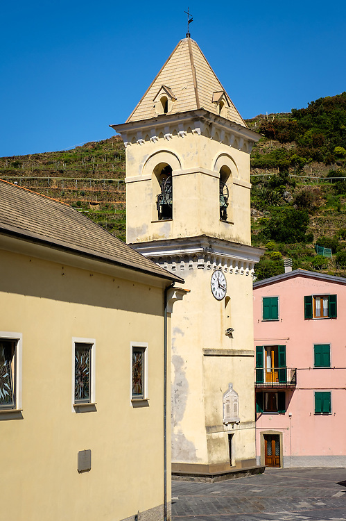 MANAROLA, ITALY - CIRCA MAY 2015:  Campanile in the village of Manarola in Cinque Terre, Italy.