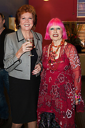 """© under license to London News Pictures. LONDON, 19/05/2011. Cilla Black with fashion designer Zandra Rhodes. Opening of the Tommy Nutter Exhibition """"Rebel on the Row"""" at the Fashion and Textile Museum, London. Photo credit should read BETTINA STRENSKE/LNP"""