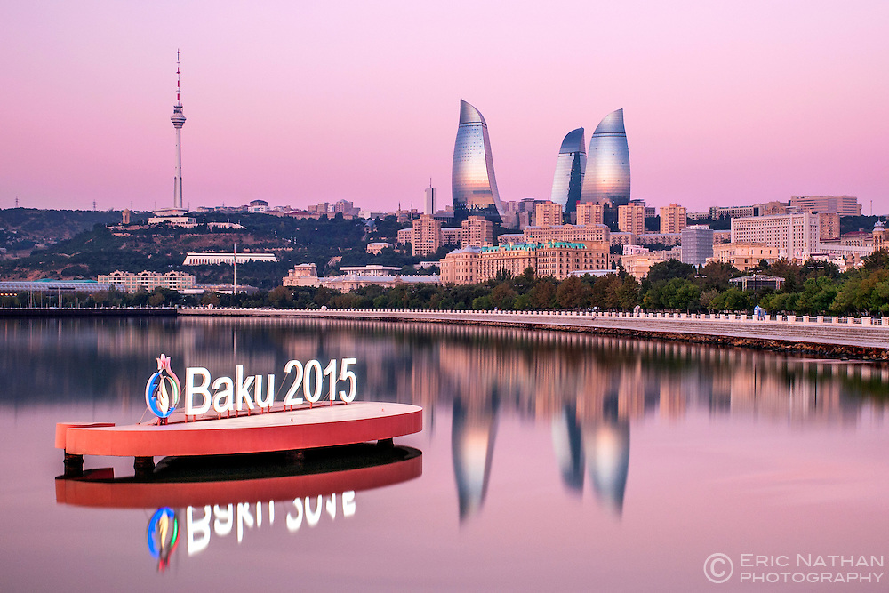 Baku Bay and the Baku skyline at dawn. The sign is to highlight the European games held in Baku in June 2015.