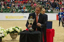 Frank Kemperman with the Reem Acra FEI World Cup<br /> Reem Acra FEI World Cup Final Goteborg 2013<br /> © Dirk Caremans
