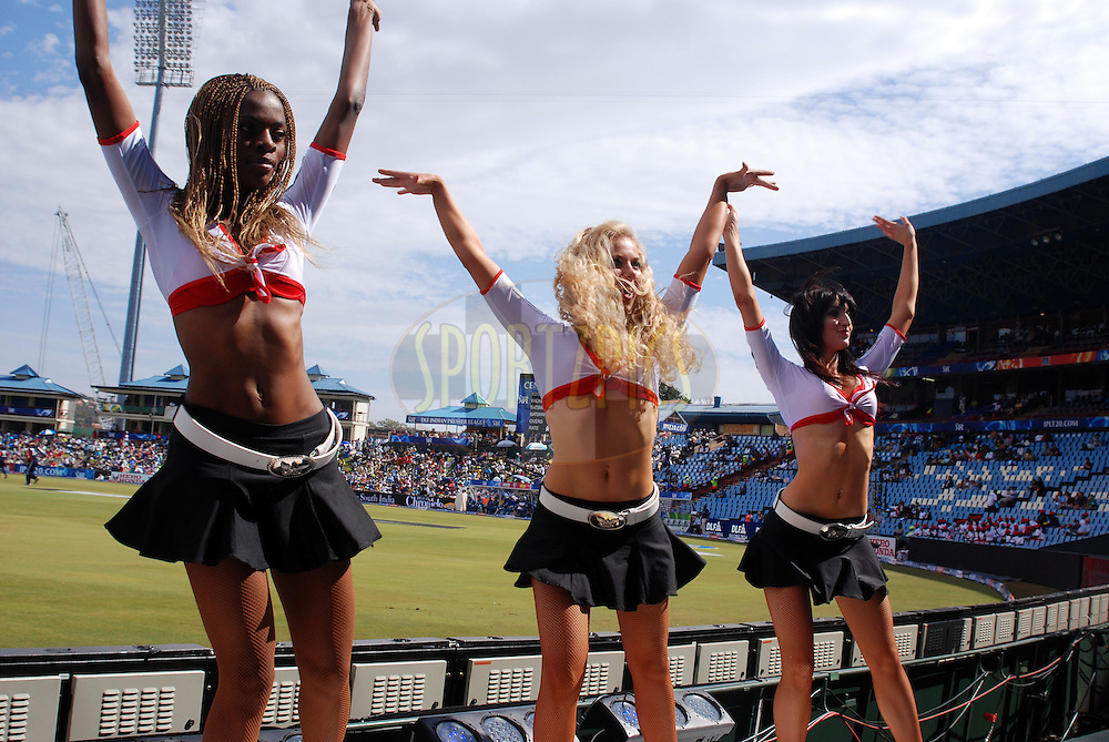 CENTURION, SOUTH AFRICA - 30 April 2009.  Shapely dancers acknowledge good cricket during the IPL Season 2 match between the Deccan Chargers and Delhi Daredevils held at Centurion, South Africa.