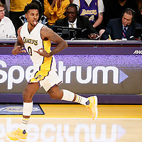 27 November 2016: Los Angeles Lakers guard Nick Young (0) celebrates during the Los Angeles Lakers 109-94 victory over the Atlanta Hawks, at the Staples Center, Los Angeles, California, USA.