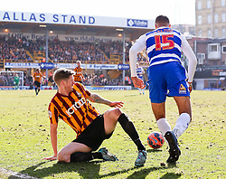 Bradford City's Jon Stead is dispossessed by Reading's Michael Hector  - Photo mandatory by-line: Matt McNulty/JMP - Mobile: 07966 386802 - 07/03/2015 - SPORT - Football - Bradford - Valley Parade - Bradford City vReading - FA Cup - Quarter Final