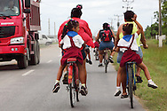 Bicycling home from school in Moron, Ciego de Avila, Cuba.