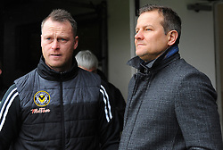Newport County manager Michael Flynn and Forest Green Rovers manager Mark Cooper wait to hear if the game is still on or cancelled- Mandatory by-line: Nizaam Jones/JMP- 10/02/2018 - FOOTBALL - Rodney Parade - Newport, Wales- Newport County v Forest Green Rovers - Sky Bet League Two