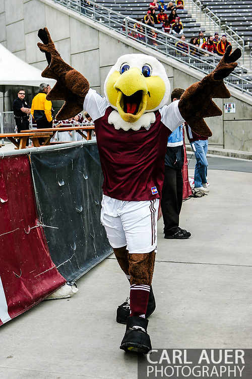 April 6th, 2013 - Edson the Eagle, a mascot for  the Colorado Rapids prior to the start of action in the MLS match between Real Salt Lake and the Colorado Rapids at Dick's Sporting Goods Park in Commerce City, CO