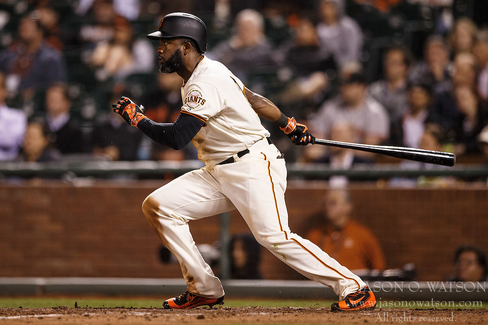 SAN FRANCISCO, CA - APRIL 18: Denard Span #2 of the San Francisco Giants hits a triple against the Arizona Diamondbacks during the eighth inning at AT&T Park on April 18, 2016 in San Francisco, California. The Arizona Diamondbacks defeated the San Francisco Giants 9-7 in 11 innings.  (Photo by Jason O. Watson/Getty Images) *** Local Caption *** Denard Span