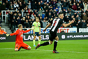 Ciaran Clark (#2) of Newcastle United celebrates Newcastle United's second goal (2-1) during the Premier League match between Newcastle United and Bournemouth at St. James's Park, Newcastle, England on 9 November 2019.