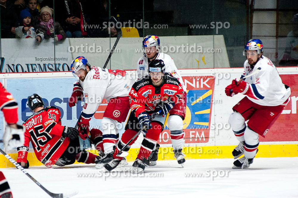 13.02.2015, Ice Rink, Znojmo, CZE, EBEL, HC Orli Znojmo vs EC Red Bull Salzburg, Platzierungsrunde, im Bild v.l. Antonin Boruta (HC Orli Znojmo) Troy Milam (EC Red Bull Salzburg) Ondrej Sedivy (HC Orli Znojmo) Andreas Kristler (EC Red Bull Salzburg ) Florian Muhlstein (EC Red Bull Salzburg ) // during the Erste Bank Icehockey League placement round match between HC Orli Znojmo and EC Red Bull Salzburg at the Ice Rink in Znojmo, Czech Republic on 2015/02/13. EXPA Pictures © 2015, PhotoCredit: EXPA/ Rostislav Pfeffer